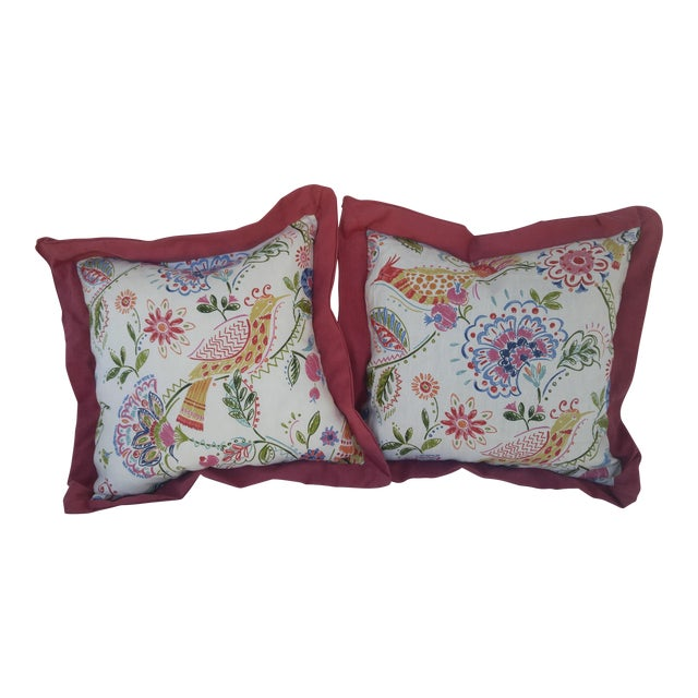 Bird and Floral Pillows - A Pair - Image 1 of 4