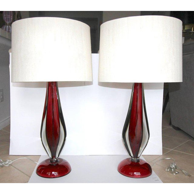 Large Flavio Poli Seguso Sommerso Murano Red Glass Table Lamps - a Pair For Sale - Image 12 of 13
