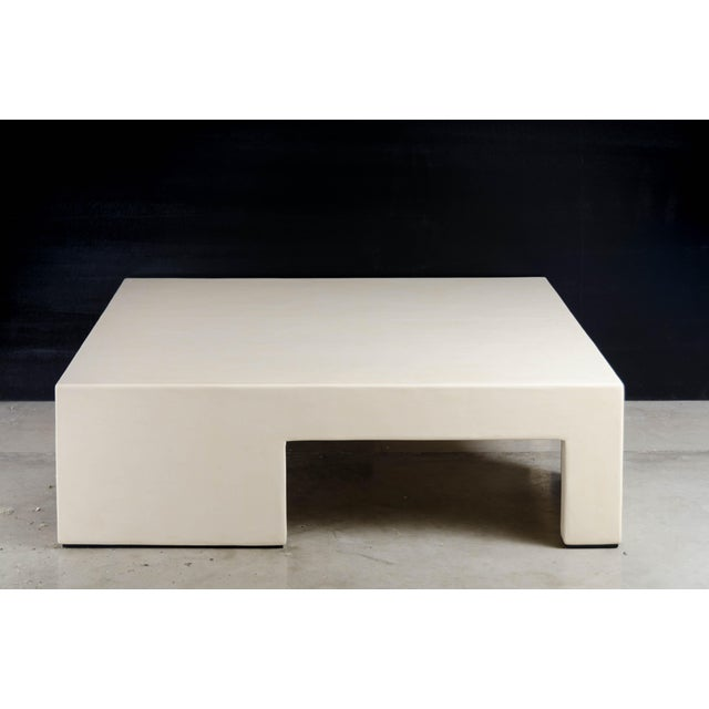 2010s Low Square Table With Alternate Legs - Cream Lacquer by Robert Kuo, Limited Edition For Sale - Image 5 of 5