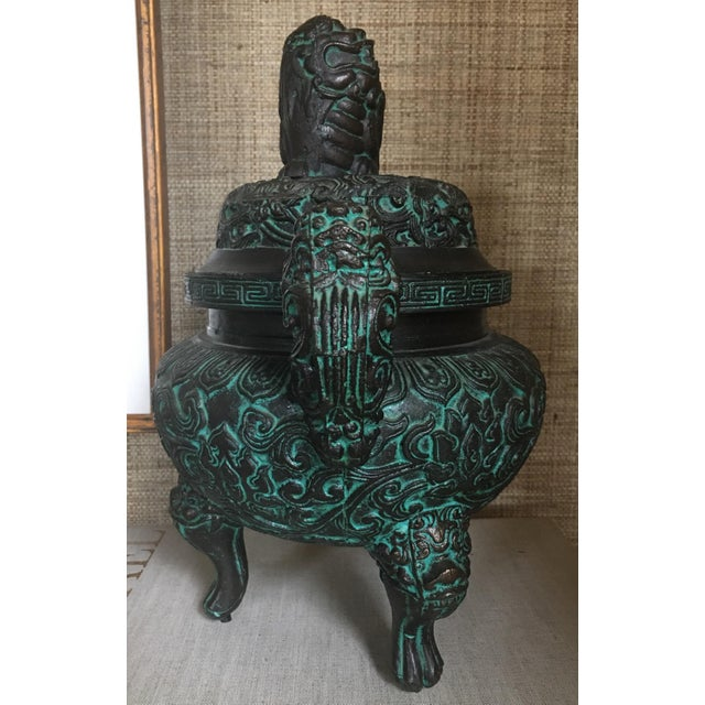 Metal Midcentury James Mont Style Asian Style Greek Key Ice Bucket Urn For Sale - Image 7 of 13