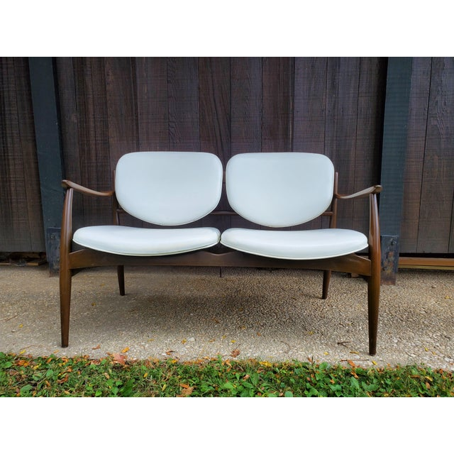 Mid 20th Century Danish Modern Style White Settee For Sale - Image 13 of 13