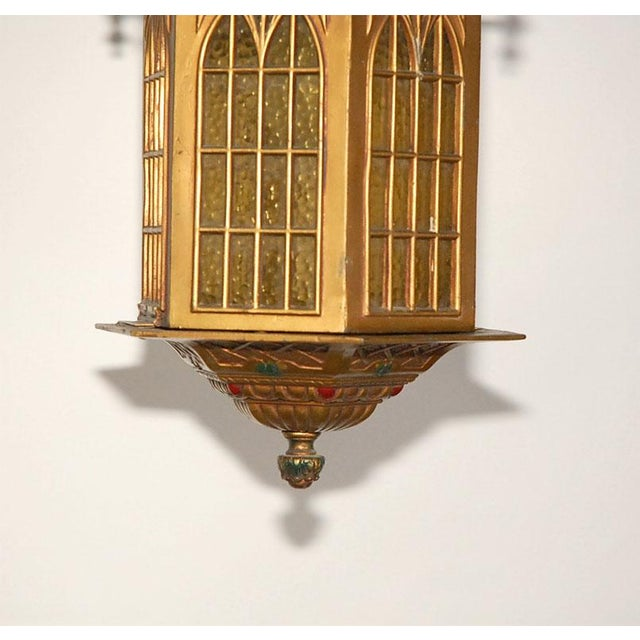 1910s Gothic Style Bradley and Hubbard Gold Metal Hall Lantern For Sale In Los Angeles - Image 6 of 9