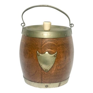 1940s Vintage English Barrel Ice Bucket For Sale