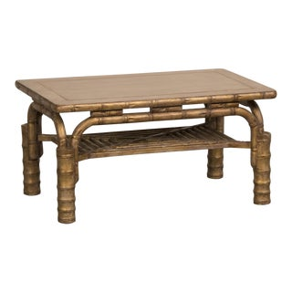 Striking Vintage French Gilded Coffee Table Standing on Bamboo Legs circa 1910 For Sale
