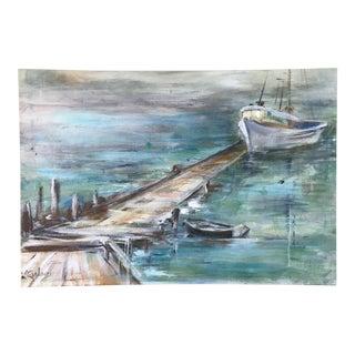 Vintage Seascape Boat Deck Oil Painting