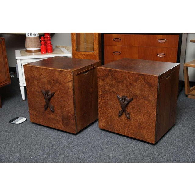 Romweber Mid Century Modern Night Stands in Exotic Burl Late 1940s, Set of Two. - Image 4 of 11