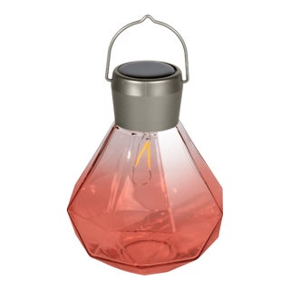 Outdoor Blown Glass Solar Gem Light in Rose For Sale