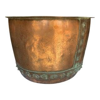 Antique Copper Cauldron With Rivets For Sale