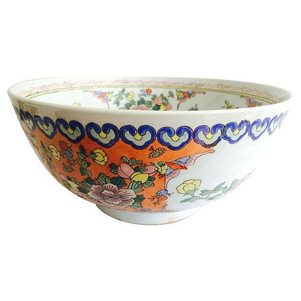 Large Chinese Botanical Bowl For Sale