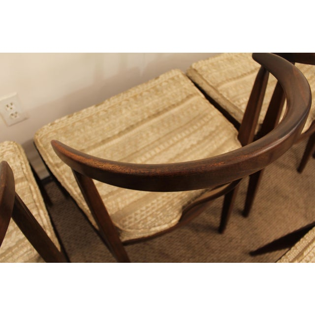 Curved-Back Walnut Dining Chairs - Set of 6 - Image 8 of 11