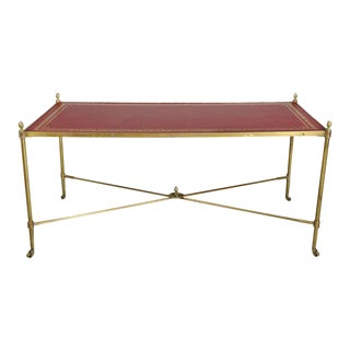 Directoire Style Brass and Leather Coffee Table For Sale