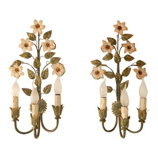 1950 Tole Three-Light Murano Flowers Sconces For Sale