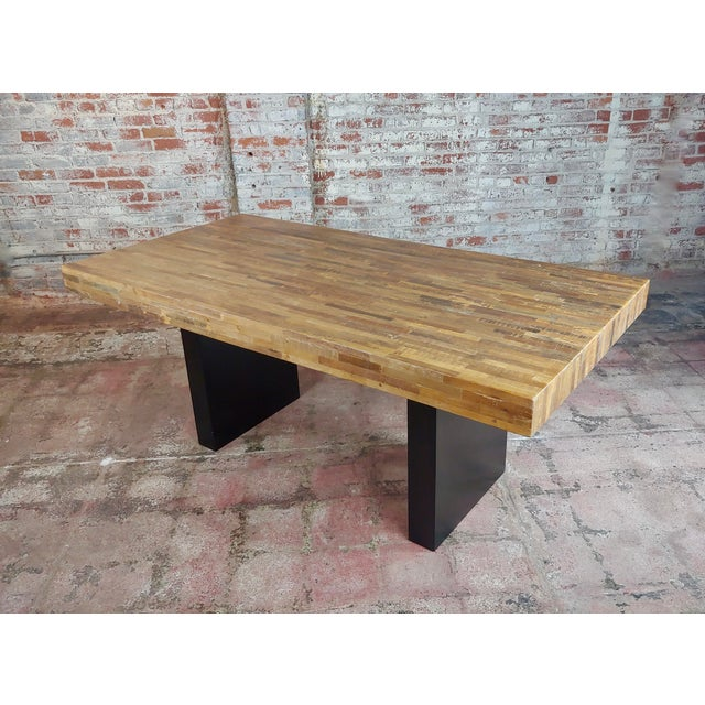 Vintage Butcher Block Style Dining Table W/Ebonized Base For Sale - Image 10 of 10
