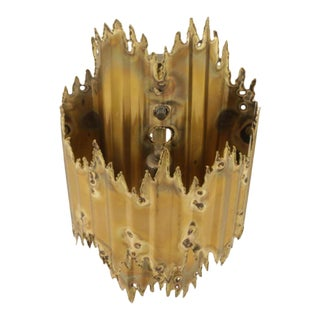 1970s Brutalist Tom Greene for Feldman Brass Torch-Cut Wall Sconce