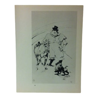"""Circa 1980 """"At the Circus Horse and Monkey Act 1899"""" Print of a Toulouse-Lautrec Drawing For Sale"""
