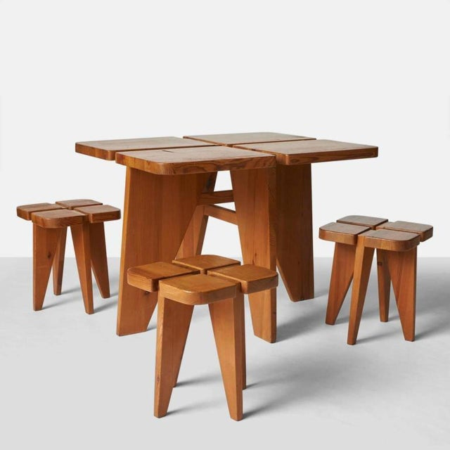 1960s Lisa Johansson Pape Dining Table and Stools - Set of 4 For Sale - Image 9 of 9