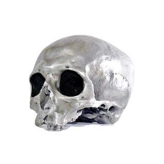 Silvered Bronze Human Skull Replica For Sale