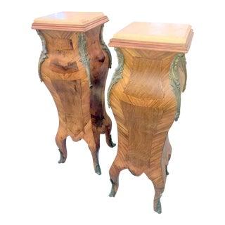Vintage Marble Top Wooden Pedestals - A Pair