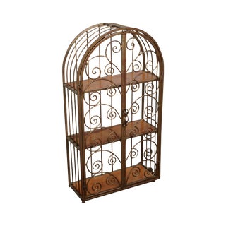 Italian Gilt Metal Hanging Etagere Cabinet For Sale