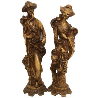 Vintage Chinoiserie Male and Female Statuary of Good Luck For Sale