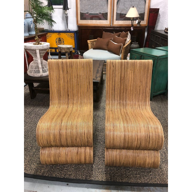 Tan Modern Balinese Snake Chairs - a Pair For Sale - Image 8 of 8