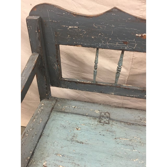 Wood 19th C Scandinavian Painted Hall Bench With Storage For Sale - Image 7 of 11