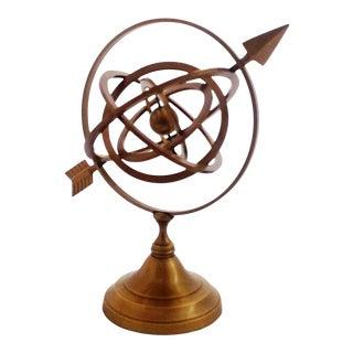 1970s Handmade Brass Armillary Sphere With Sundial Arrow For Sale