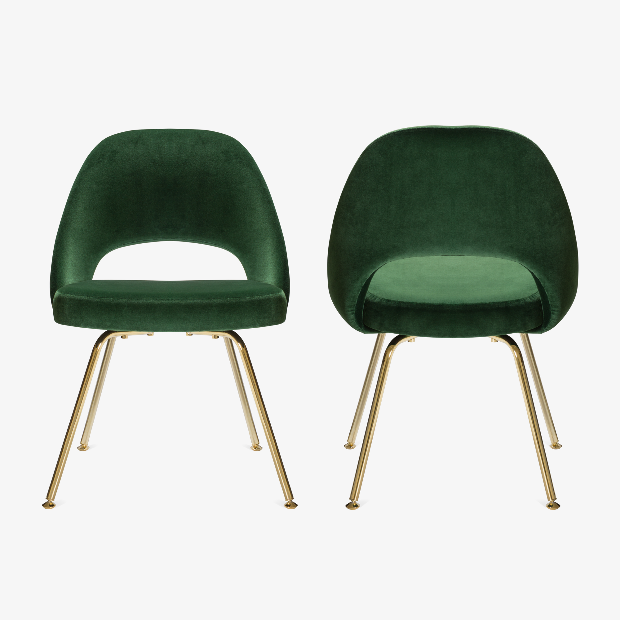 Executive Armless Chairs In Emerald Velvet, 24k Gold Edition   Set Of 6    Image