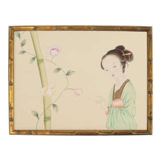 Asian Courtesan Painting on Silk