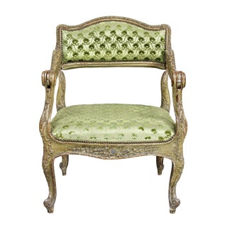 Unusual Louis XV Painted Armchair For Sale