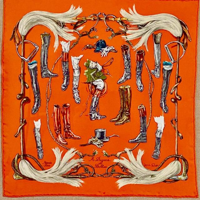 """Framed Vintage Unused Hermès Silk Scarf """"Propos De Bottes"""" For Sale In Los Angeles - Image 6 of 9"""