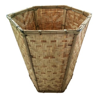 Chinese Herringbone Woven Wicker Bamboo Rattan Waste Basket For Sale