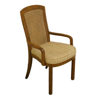 Late 20th Century Vintage Drexel Heritage Accolade Campaign Style Cane Back Dining Arm Chair For Sale