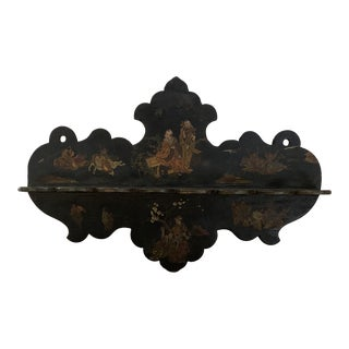 Victorian Black Lacquered Chinese Export Pipe Holder or Decorative Wall Decor For Sale