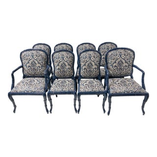 Set of 8 Linen and Lacquer Faux Bois Chairs For Sale