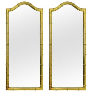Drexel Mirrors in Faux Bamboo with Gold Leaf Finish - A Pair For Sale