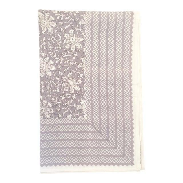 European Handmade Block Print Tablecloth For Sale