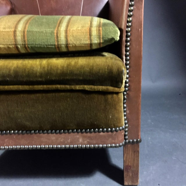 1940s Swedish Square-Back Leather Club Chair For Sale - Image 10 of 11