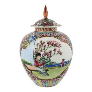 Mid 20th Century Vintage Small Chinese Polychrome Porcelain Covered Jar Model For Sale