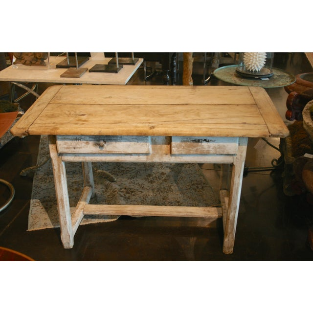 Mid 19th Century Painted Oak Two Drawer Table For Sale - Image 5 of 7