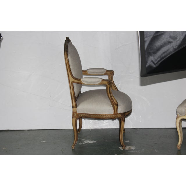 1950s Louis XV French Beige Arm Chair For Sale - Image 4 of 6