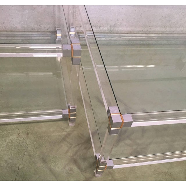 Midcentury Square Lucite Coffee Table With Chromed Metal Details For Sale - Image 9 of 13
