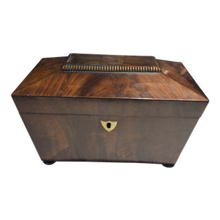 Dome Top Two Lidded Tea Caddy For Sale