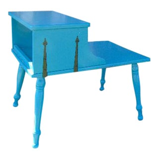 Vintage Painted Blue Two-Tiered Baumritter Side Table For Sale