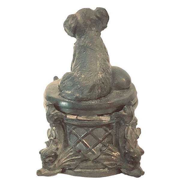 Metal 19th Century French Inkwell With Dog For Sale - Image 7 of 8