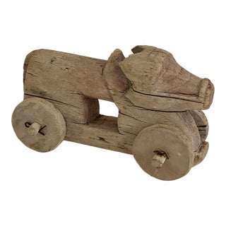 Rustic Wood Toy Sculpture For Sale