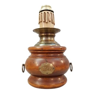 French Vintage Wood Desk Lamp For Sale