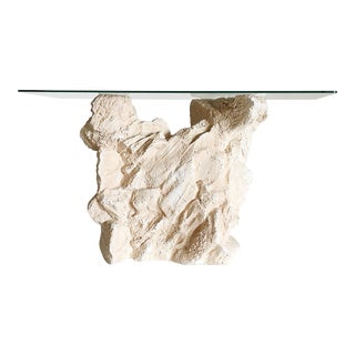 Sirmos Quarry Style Plaster Console Table For Sale
