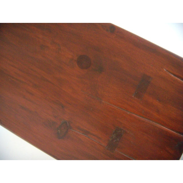 Early 20th Century Mid 20th. Century Vintage American Two Seat Brown Pine Wood Bench For Sale - Image 5 of 7