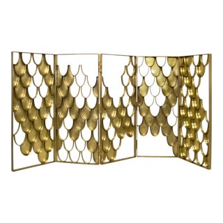 Covet Paris Contemporary Brass Koi Fish Scale Motif Screen For Sale